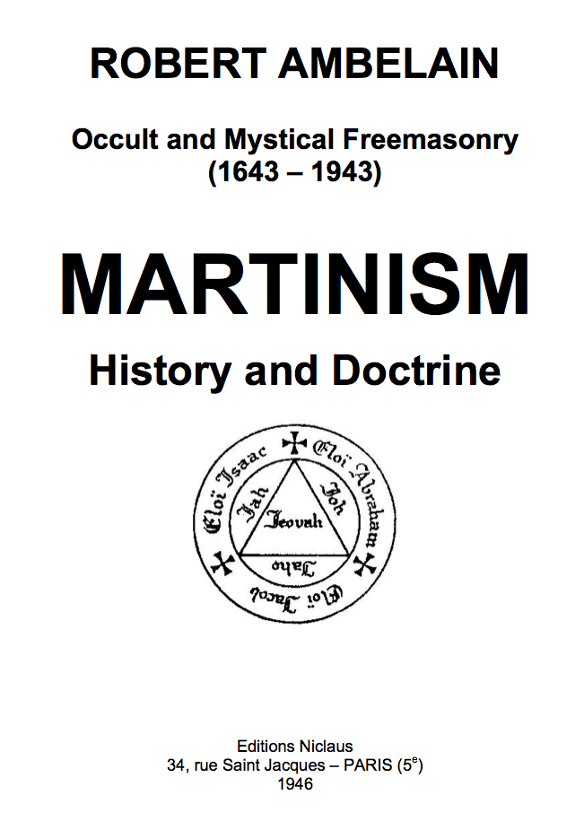 Martinism History and Doctrine