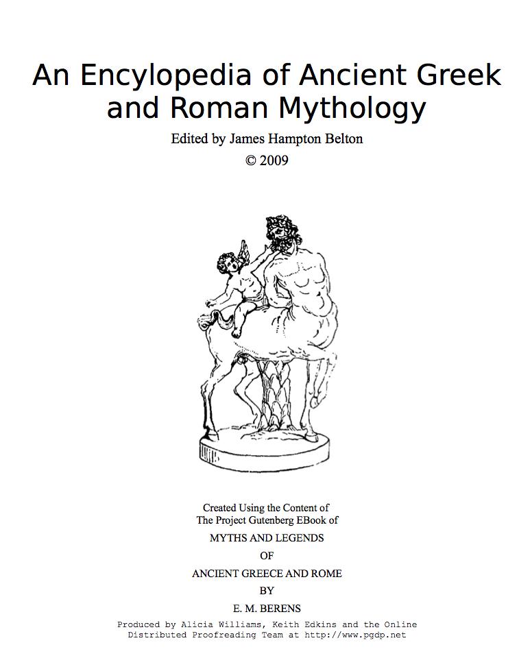 An Encylopedia of Ancient Greek and Roman Mythology